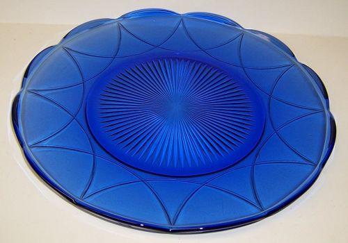Hazel Atlas Cobalt NEWPORT HAIRPIN 11 Inch SANDWICH PLATE