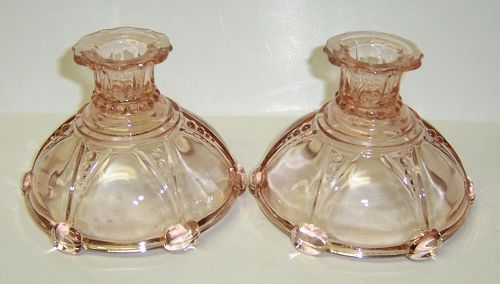 Anchor Hocking Pink OYSTER and PEARL CANDLE HOLDERS, Pair