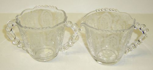 Tiffin Crystal CHEROKEE ROSE CREAMER and SUGAR BOWL Set