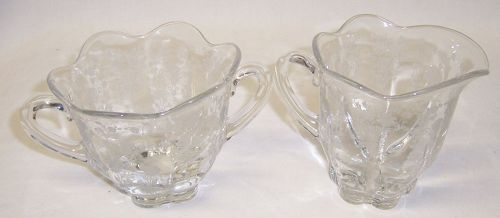 Ducan and Miller Crystal CREAMER and SUGAR BOWL Set