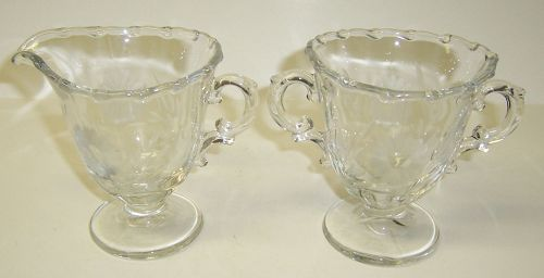 Fostoria Crystal Etched CENTURY CREAMER and SUGAR BOWL Set
