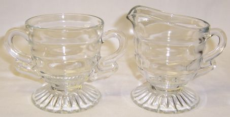 Indiana Crystal CHRISTMAS CANDY Footed CREAMER and SUGAR BOWL