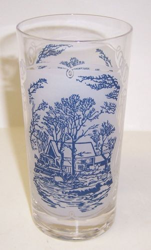 Royal CURRIER and IVES COVERED BRIDGE 5 5/8 Inch WATER TUMBLER