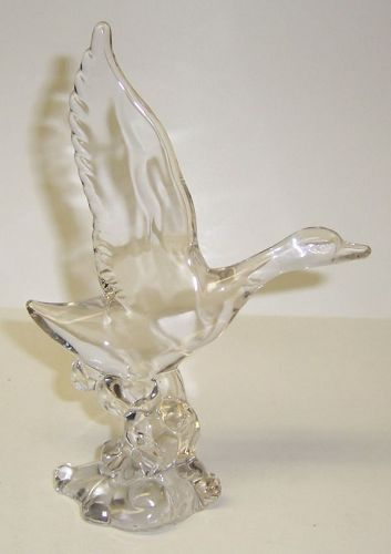 A. H. Heisey and Co. Crystal WINGS UP MALLARD DUCK - Signed