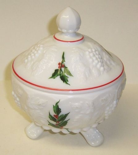 Westmoreland Milk Glass PANELED GRAPE 3 Footed HOLLY Candy Dish w/Lid