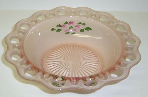 Hocking Pink Frosted LACE EDGE, aka OLD COLONY, 7 1/2 In BOWL