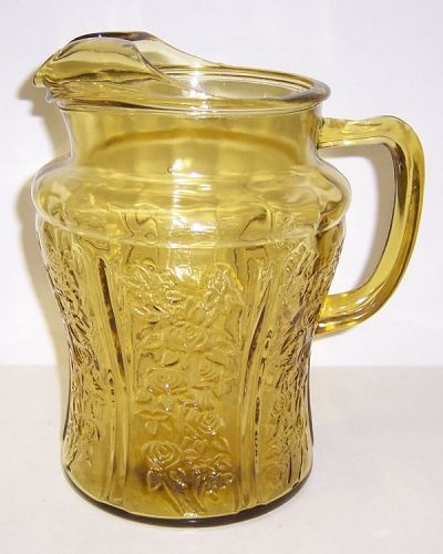 Federal Glass Amber SHARON CABBAGE ROSE 8 3/4 Inch ICE LIP PITCHER