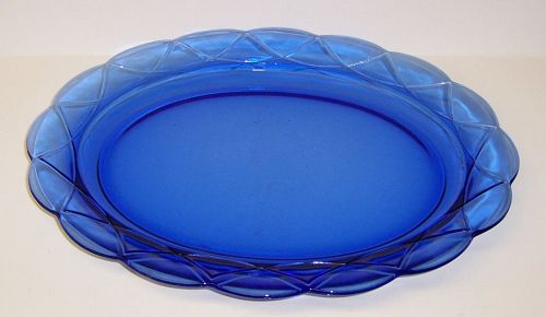 Hazel Atlas Cobalt Blue NEWPORT HAIRPIN Oval SERVING PLATTER
