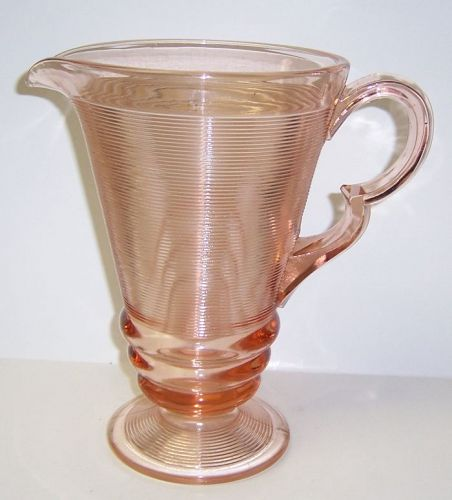 Indiana Pink OLD ENGLISH 'THREADING' 9 1/4 Inch Ftd WATER PITCHER