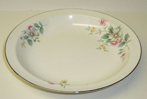 Hall China SPRINGTIME 8 1/2 Inch LOW FLAT RIMMED SOUP BOWL