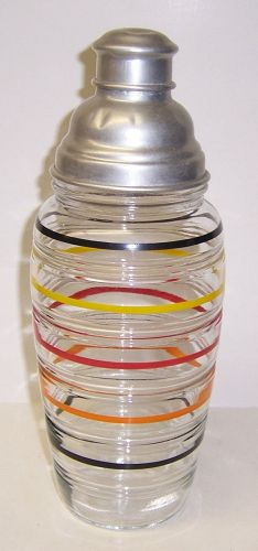 Hocking BANDED RINGS 11 1/2 In DECANTER with Original LID and COVER