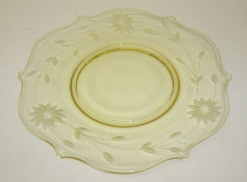 Lancaster Glass Yellow JUBILEE 8 1/4 Inch SALAD PLATE