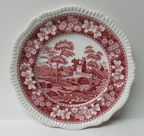 Copeland England SPODE'S TOWER Pink 10 1/2 Inch DINNER PLATE