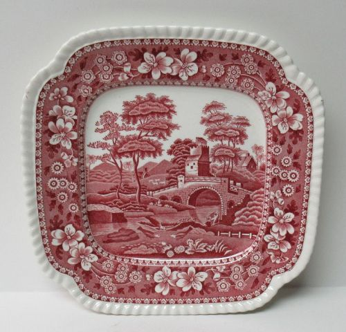 Copeland England SPODE'S TOWER Pink 8 1/8 In Square SALAD PLATE