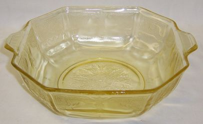 Hocking Yellow Topaz PRINCESS 9 In Tab Handled Octagonal SALAD BOWL