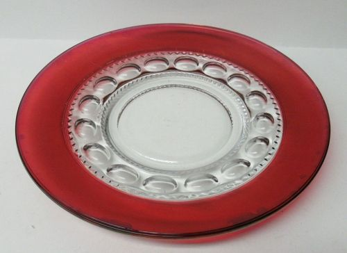 Indiana Glass Ruby Flashed KINGS CROWN 8 1/4 Inch SALAD PLATE