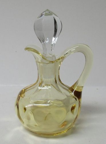 Heisey Sahara Yellow YEOMAN 4 Ounce CRUET with Crystal STOPPER