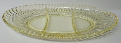 Duncan and Miller Sahara Yellow RADIANCE Three-Part RELISH TRAY