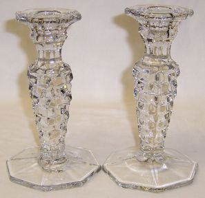 Fostoria Crystal AMERICAN 6 1/4 In Single CANDLE HOLDERS, Pair