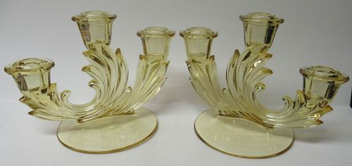 Fostoria Topaz Yellow BAROQUE TRIPLE CANDLE HOLDERS, Pair