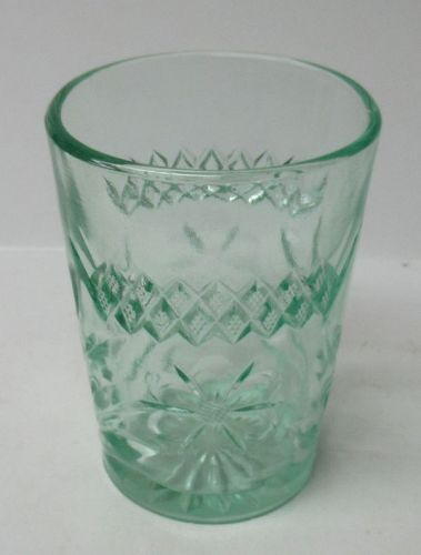 U S Glass Green FLORAL and DIAMOND BAND 4 In WATER TUMBLER