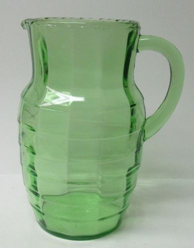 Hocking Green BLOCK OPTIC 8 1/4 In 54 Ounce WATER PITCHER