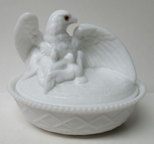 Westmoreland Milk Glass EAGLE on Basket Weave Base