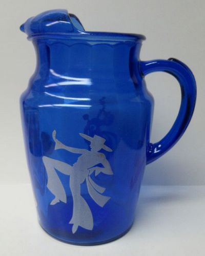 Hazel Atlas Cobalt Blue SENORITA DANCING 9 1/2 In ICE LIP PITCHER