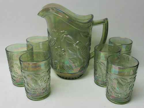 Imperial Glass Verde Green Carnival ROBIN Seven Piece PITCHER SET