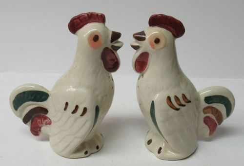 Shawnee Pottery CHANTICLEER ROOSTER 5 Inch SALT and PEPPER Shakers