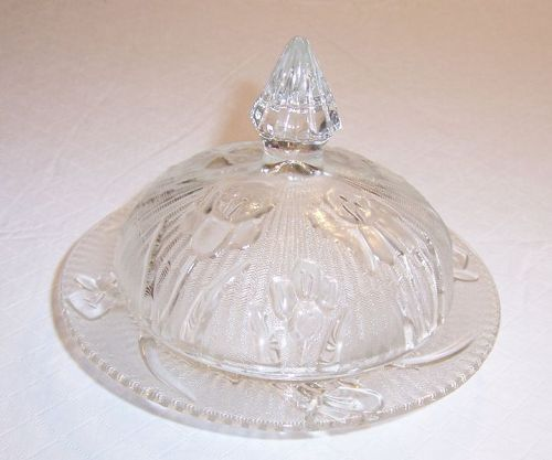 Jeannette IRIS and HERRINGBONE BUTTER DISH with LID, Crystal