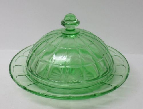 Hazel Atlas Green COLONIAL BLOCK Round BUTTER DISH with LID