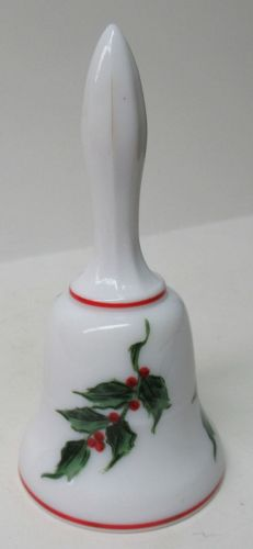 Westmoreland Milk Glass 5 Inch High BELL, Hand Painted CHRISTMAS HOLLY