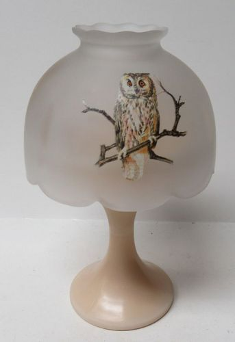 Westmoreland Glass Almond Crystal Mist OWL Design 2 Pc CANDLE LAMP