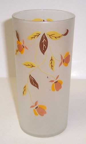 Hall AUTUMN LEAF Jewel T 5 1/2 Inch 14 Ounce FROSTED WATER TUMBLER