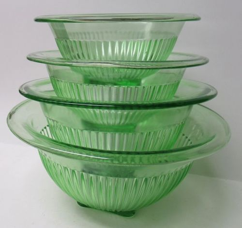 Hocking Glass Green VERTICAL RIBBED Four-Piece MIXING BOWL Set