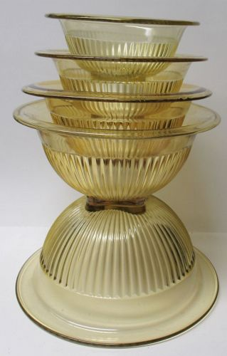 Federal Glass Golden Glow VERTICAL RIBBED 5-Piece MIXING BOWL SET
