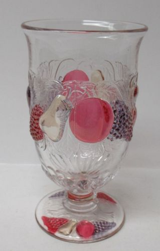 Westmoreland Ruby Flashed DELLA ROBBIA 5 3/4 In Footed ICE TEA TUMBLER