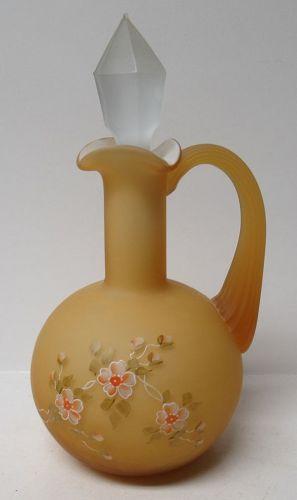 Fenton Art Glass AMBER HONEY CASED Cruet with Stopper Signed J. SLIDER