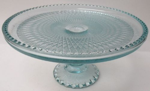 Jeannette Glass Ice Blue HARP 10 1/4 Inch FOOTED CAKE STAND