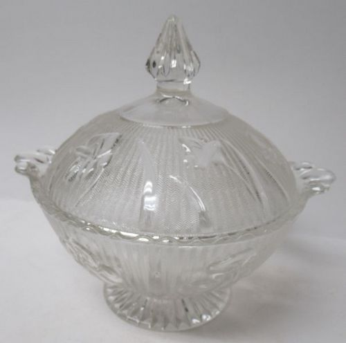 Jeannette Crystal IRIS and HERRINGBONE Footed CANDY DISH with LID