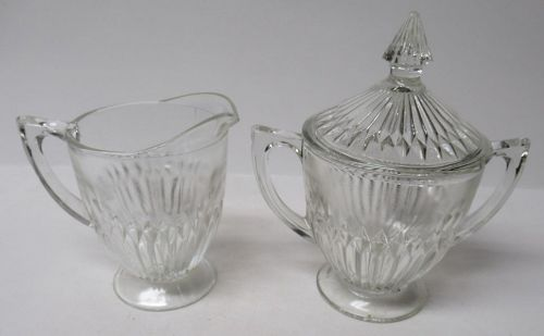 Jeannette Crystal ANNIVERSARY CREAMER, SUGAR BOWL with LID