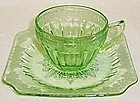 Jeannette Green ADAM Depression Glass CUP and SAUCER