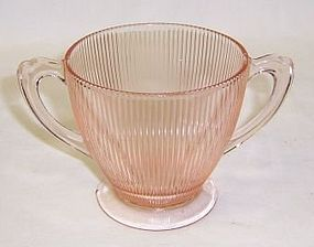 Jeannette Pink HOMESPUN FINE RIB Open SUGAR BOWL
