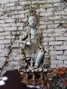 Chinese white glazed porcelain Guanyin with lokapalas