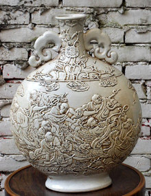 Antique white Chinese moon flask - Wan Bing Rong mark
