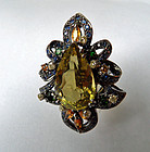 Rhodinated 9 kt. gold ring with citrine and diamonds