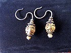 Antique Chinese earrings, gold, silver and jade