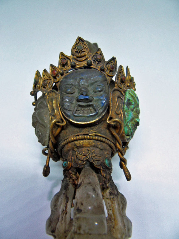 Tibetan quartz Phurba with turquoise and lapis lazuli