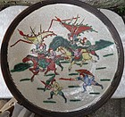 Nanking ornamental craquele  plate with battle scene